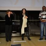 """Paola Malanga consegna il premio """"Riconoscimento Rai Cinema a """"Redemption Song"""", con Cristina Mantis, regista di Redemption Song e l'attore del documentario Cissoko Aboubacar"""