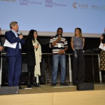 Francesco Bizzarri, Paola Malanga, Cristina Mantis, regista di Redemption Song, l'attore del documentario Cissoko Aboubacar, Martina Colombari e Serena Massimi