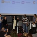 Francesco Bizzarri, Paola Malanga, Cristina Mantis, regista di Redemption Song, l'attore del documentario Cissoko Aboubacar e Martina Colombari
