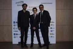 Il regista del film IL CLUB DEI 27 Mateo Zoni con David Moscato, produttore e il protagonista Giacomo