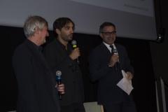 Il regista del film IL CLUB DEI 27 Mateo Zoni con Fabrizio Grosoli e David Moscato, produttore