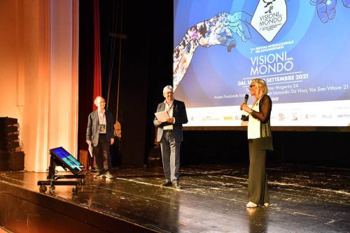 Isabella Menichini, Entertainment Area Director of the Municipality of Milan, on stage during the opening with Francesco Bizzarri and Maurizio Nichetti