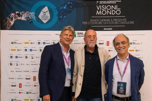 Mario Perchiazzi, President CNA Cinema and Audiovisual with Francesco Bizzarri and Maurizio Nichetti