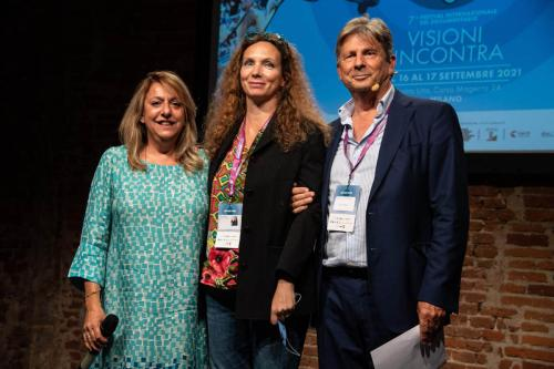 """Claudia Cipriani, director of """"La cattiva strada"""" winner of the Lo Scrittorio Subtitles Prize with Cinzia Masòtina and Francesco Bizzarri"""