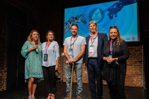 The winners of the La Compagnia Cinema Award with Francesco Bizzarri, Cinzia Masòtina and Germana Bianco