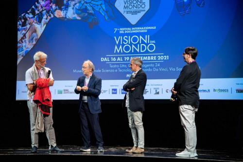 "Roberto Minini Merot, director of ""Tuk Ten"" and Paolo Fresu, protagonist of the film with Maurizio Nichetti"